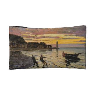 Hauling a Boat Ashore, Honfleur by Claude Monet Makeup Bag