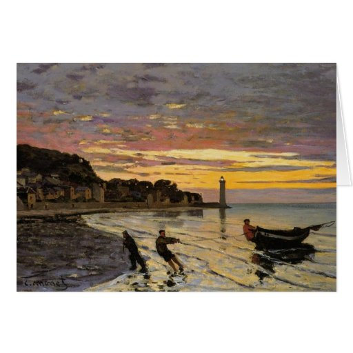 Hauling a Boat Ashore, Honfleur Greeting Card