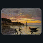 """Hauling a Boat Ashore, Honfleur Magnet<br><div class=""""desc"""">&#39;Hauling a Boat Ashore,  Honfleur&quot; is a painting by French Impressionist painter,  Claude Monet. This attractive painting was completed by Monet in 1864 and features a beautiful sunset with people bring a boat to shore.</div>"""