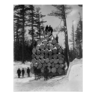 Hauling Logs in Michigan, 1890s Poster
