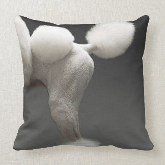 Haunches of Poodle, on grey background Pillow