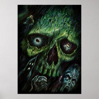 Haunted Attraction Skulls Ghosts Vintage Poster