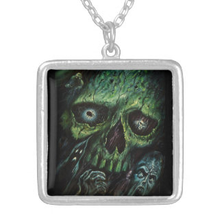 Haunted Attraction Skulls Ghosts Vintage Silver Plated Necklace