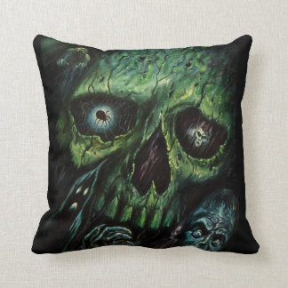 Haunted Attraction Skulls Ghosts Vintage Throw Pillow
