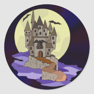 Haunted Castle, Bats and Full Moon Cartoon Classic Round Sticker