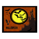 Haunted Castle, Bats and Yellow Moon Post Card