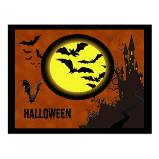 Haunted Castle Bats and Yellow Moon Post Card
