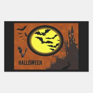 Haunted Castle, Bats and Yellow Moon Rectangular Sticker
