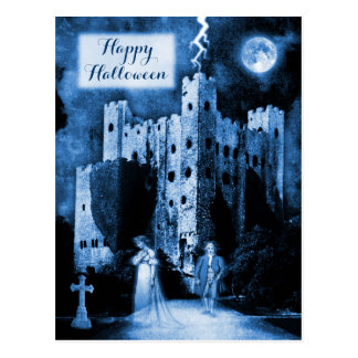 Haunted Castle Gothic Happy Halloween Postcard