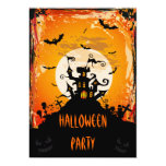 Haunted Castle Halloween Party Card