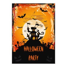 Haunted Castle Halloween Party Card at Zazzle
