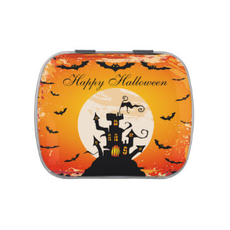 Haunted Castle Halloween Party Favor Jelly Belly Candy Tins