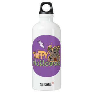 Haunted Castle Happy Halloween medallion Aluminum Water Bottle