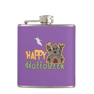 Haunted Castle Happy Halloween medallion Flask