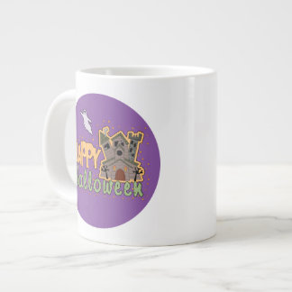 Haunted Castle Happy Halloween medallion Large Coffee Mug