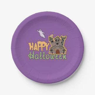 Haunted Castle Happy Halloween medallion Paper Plate