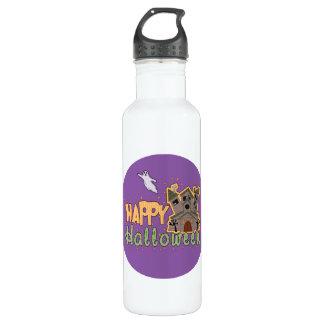 Haunted Castle Happy Halloween medallion Stainless Steel Water Bottle