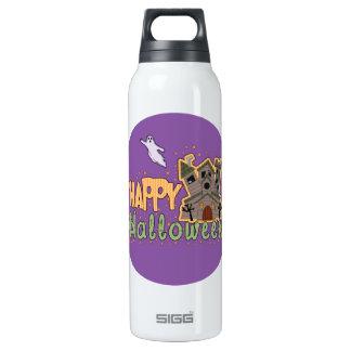 Haunted Castle Happy Halloween medallion Thermos Bottle