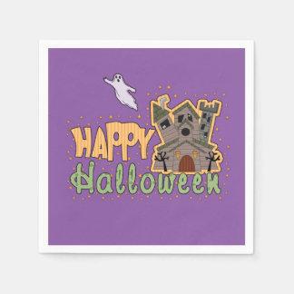 Haunted Castle Happy Halloween square Standard Cocktail Napkin