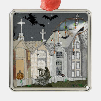Haunted Cemetary Metal Ornament