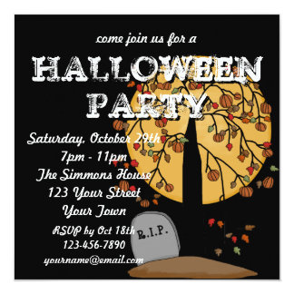 Haunted Cemetery Halloween Party Card