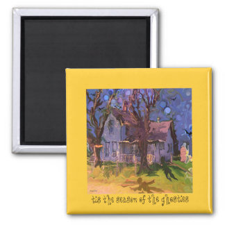 haunted farm house 2 inch square magnet