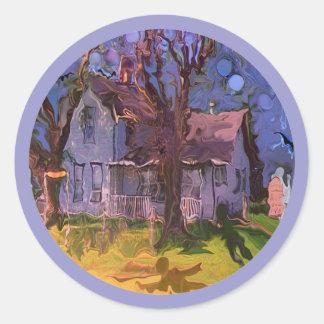 haunted farm house classic round sticker