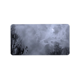 Haunted Full Moon Blue Mist Label Template
