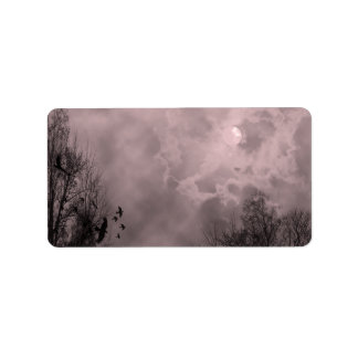 Haunted Full Moon Red Mist Label Template Address Label
