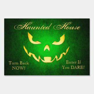 Haunted Goblin Smile Green Halloween Yard Sign