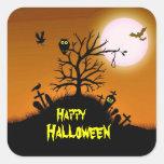 Haunted Grave Yard Halloween Decorative Square Sticker
