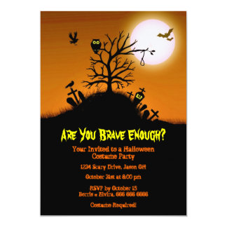 Haunted Grave Yard Halloween Party Card