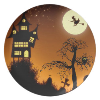 Haunted Grave Yard Halloween Party Melamine Plate