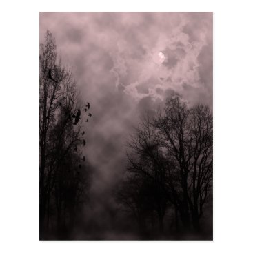 Halloween Themed Haunted Halloween Blood Red Sky with Ravens Postcard