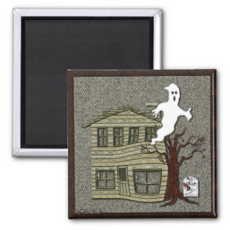 Haunted Halloween Cartoon 2 Inch Square Magnet