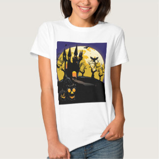 Haunted Halloween Castle Tee Shirts