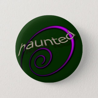 Haunted Halloween Emerald Pinback Button