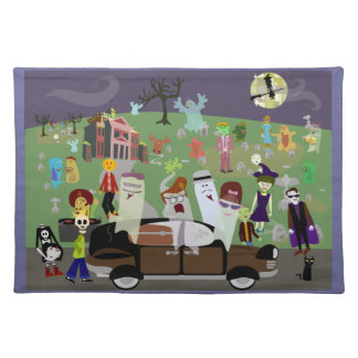 Haunted Halloween Graveyard Party Cloth Placemat