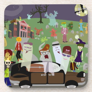 Haunted Halloween Graveyard Party Coaster