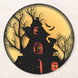 Haunted Halloween House Round Paper Coaster
