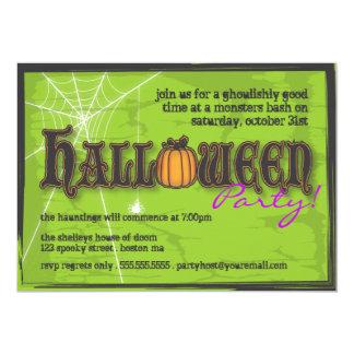 "Haunted Halloween Party Invitation Black & Green 5"" X 7"" Invitation Card"