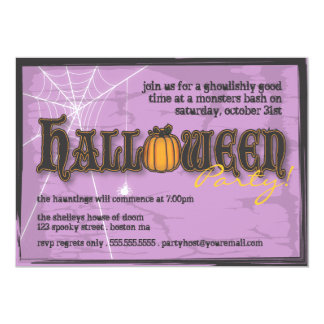 Haunted Halloween Party Invitation Black & Purple