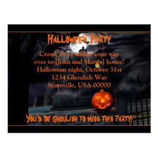 Haunted Halloween Party Invitation Post Cards