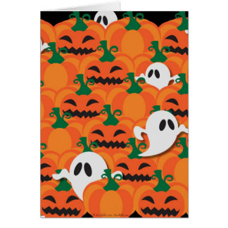 Haunted Halloween Pumpkin Patch Ghosts Greeting Card