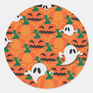Haunted Halloween Pumpkin Patch Ghosts Classic Round Sticker