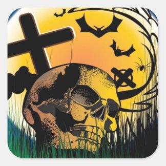 Haunted Halloween Scene Square Sticker