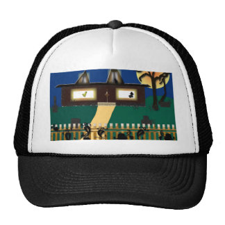 Haunted Halloween Scene Wall Decal Trucker Hat