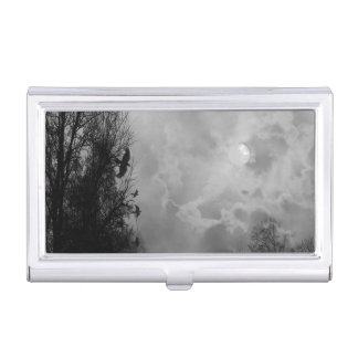 Haunted Halloween Sky with Ravens Business Card Holder