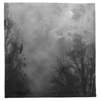 Haunted Halloween Sky with Ravens Cloth Napkin