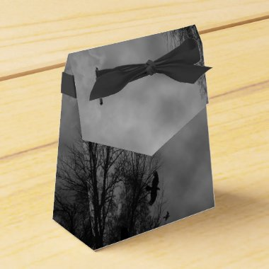Haunted Halloween Sky with Ravens Party Favor Box